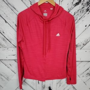 Adidas Pink Pullover Hood Fitness Long Sleeve M